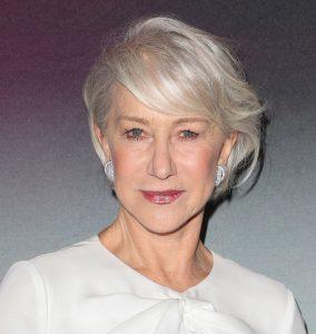 Women over 50 hairstyles - Helen Mirren medium straight hairstyle for fine hair.
