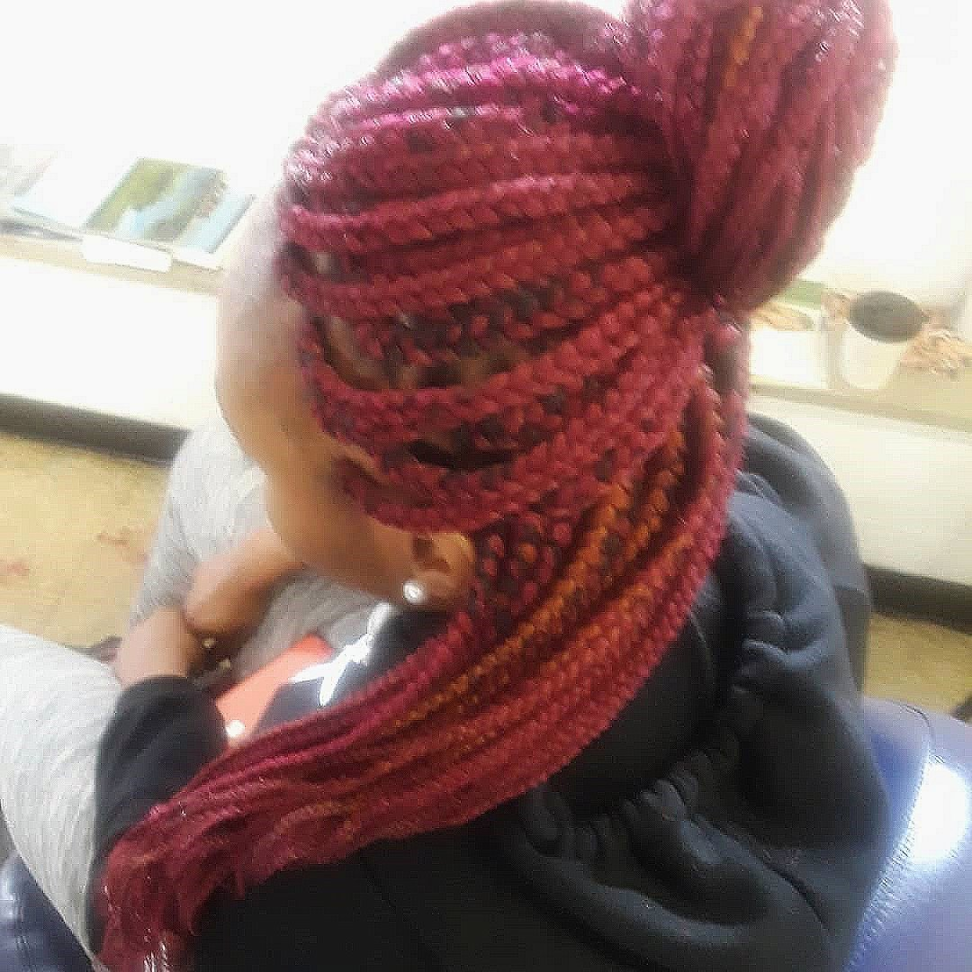 Box Braids with Red Color