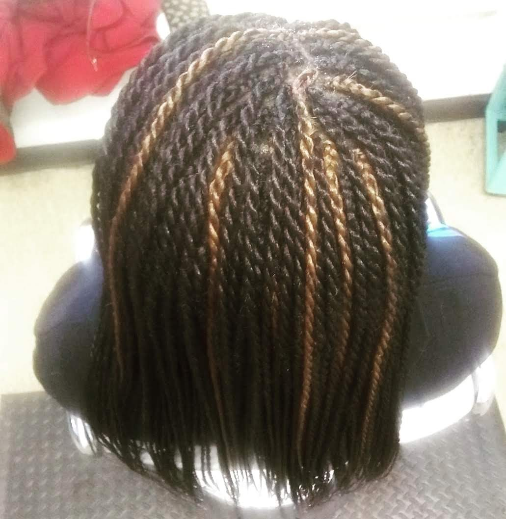 Senegalese Twist Braids with Gold Color