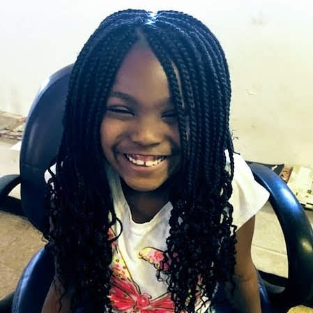 Young Girl Box Braids with Long Hair fron t view
