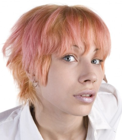 African American hairstyle short straight and pink
