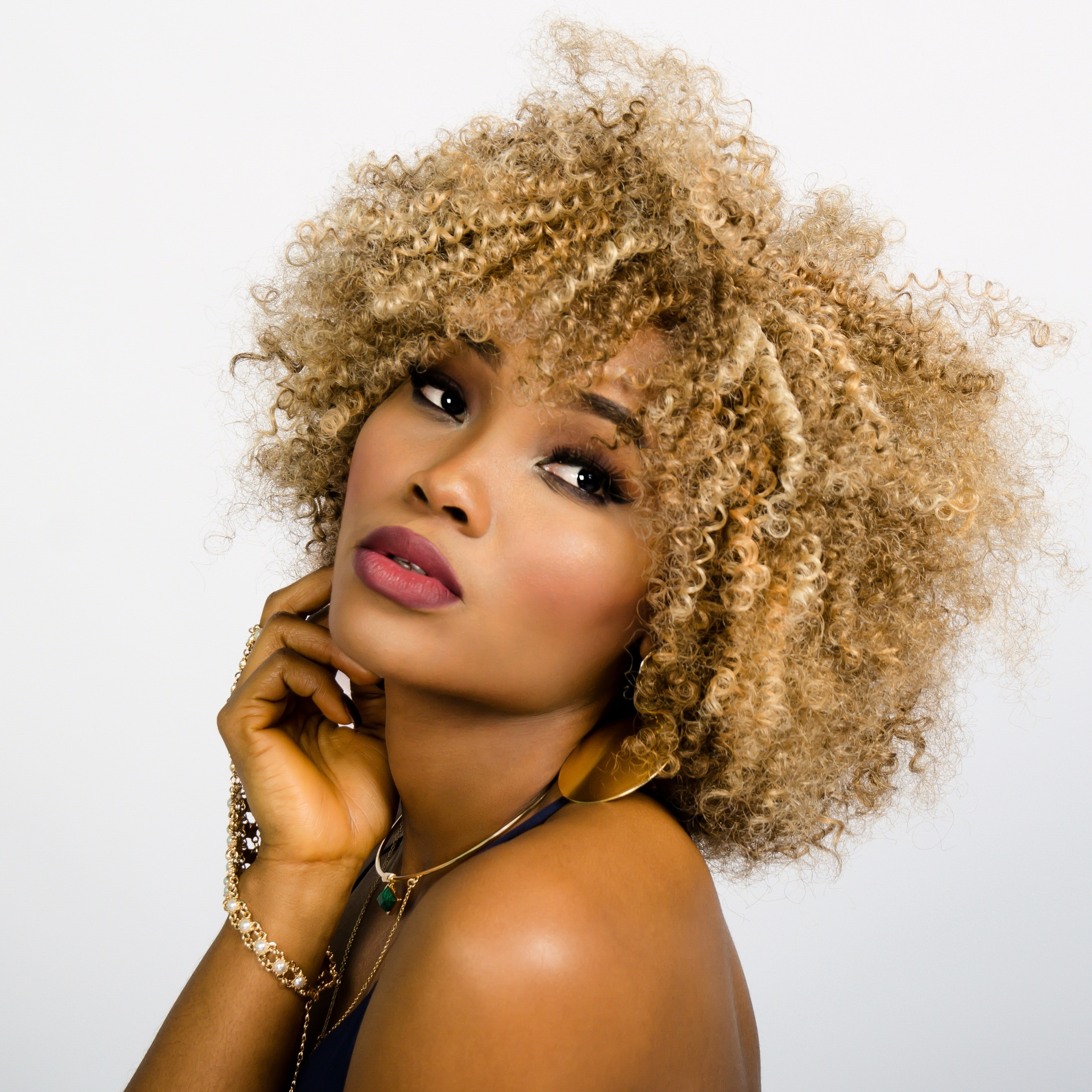 Blonde Afro Curly Hairstyle