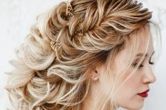 Evening Hairstyle Greek braid side view