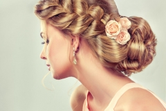 Evening hairstyle bun side view